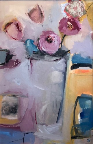 Jo Vollers, Camellias in tall Vase (London Gallery)