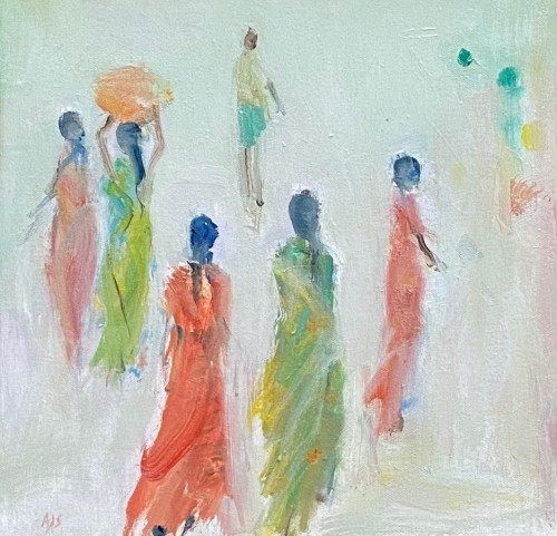 Ann Shrager, Five Girls in Green and Red Saris (London Gallery)