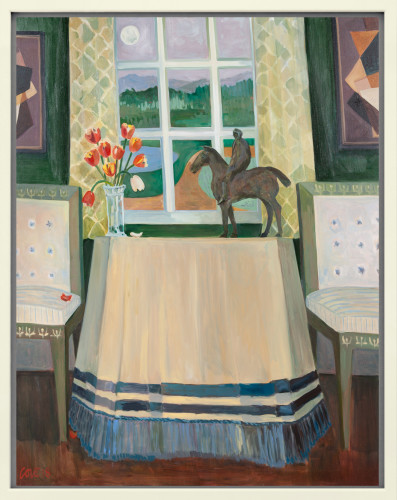 Lottie Cole, Interior with Elisabeth Frink Horse and Rider, Peter Haigh & Tulips (London Gallery)