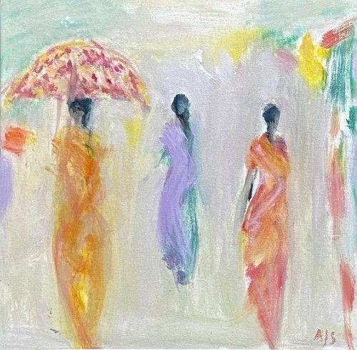 Ann Shrager, Three Ladies and a Parasol (London Gallery)