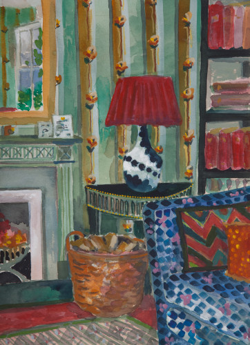 Lottie Cole, Interior with Blue and White Lamp (London Gallery)