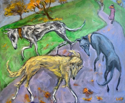Lucy Dickens, Lurchers on Primrose Hill (London Gallery)