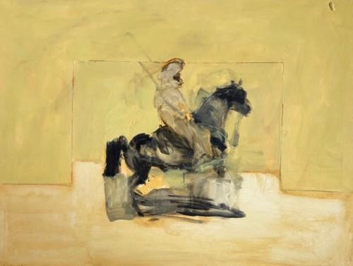 Antoine de La Boulaye, Orientalist Horseman - Yellow Background (Hungerford Gallery)