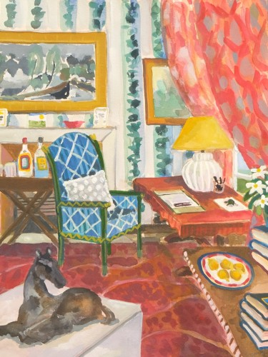 Lottie Cole, Interior with Ivon Hitchens, Elisabeth Frink and Madeleine Castaing Wallpaper (Hungerford Gallery)