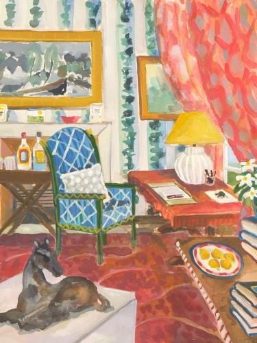 Lottie Cole, Interior with Ivon Hitchens, Elisabeth Frink and Madeleine Castaing Wallpaper (London Gallery)