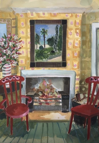 Lottie Cole, Interior with Two Red Chairs (London Gallery)