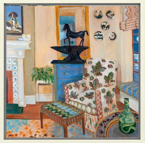 Lottie Cole, Interior with Horse Chestnut Chair, Barry Flanagan Horse on Anvil and Japanese Ceramic Plates (London Gallery)