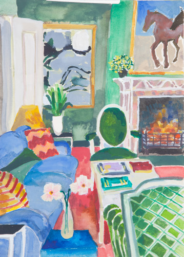 Lottie Cole, Interior with Two Pink Flowers (London Gallery)