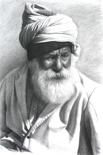 Mark Clark, Rajasthani Man with White Beard, Jodphur (Hungerford Gallery)