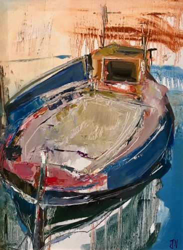 Jo Vollers, Boat at Skopelos (Hungerford Gallery)