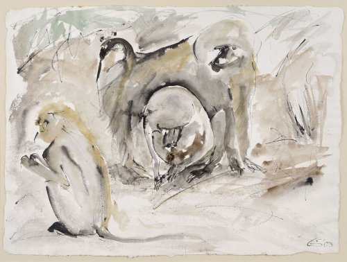 Christine Seifert, Three Baboons (Unframed)