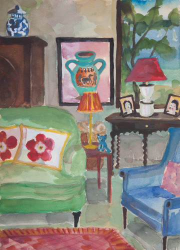 Lottie Cole, Interior with Two Flower Cushions (Hungerford Gallery)