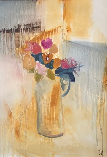 Jo Vollers, Early Spring Primulas (Hungerford Gallery)