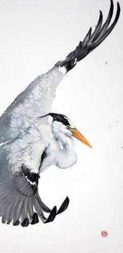 Karl Martens, Grey Heron Flying (Unframed)