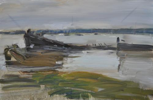 Richard Colson, Hulks at Pin Mill (London Gallery)
