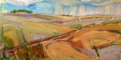 Emma Haggas, Spring Rain on Chute Causeway (Hungerford Gallery)