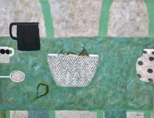 Sarah Bowman, Pears on Green (Hungerford Gallery)