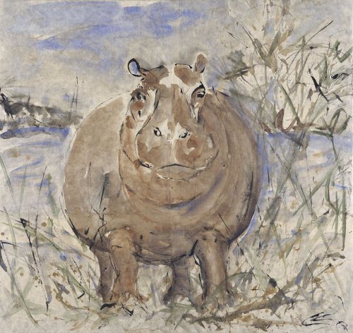 Christine Seifert, Hippo Watching (Framed) (London Gallery)