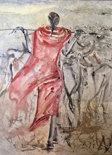 Christine Seifert, Maasai Herding Cattle (London Gallery)