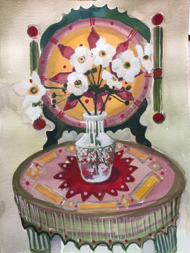 Lottie Cole, Chair with Vase of Anemones (London Gallery)