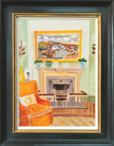 Lottie Cole, Interior with Christopher Wood and Orange Chair (London Gallery)