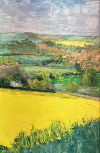 Celia Montague, Oilseed Rape Fields above Charlbury (Hungerford Gallery)