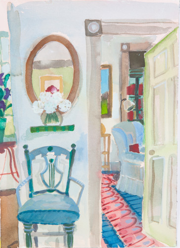 Lottie Cole, Interior with Two Blue Chairs (Hungerford Gallery)