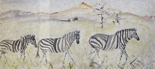 Christine Seifert, Three Zebras (Unframed) (London Gallery)