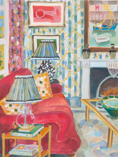 Lottie Cole, Interior with Red Sofa and Harbour Scene (London Gallery)