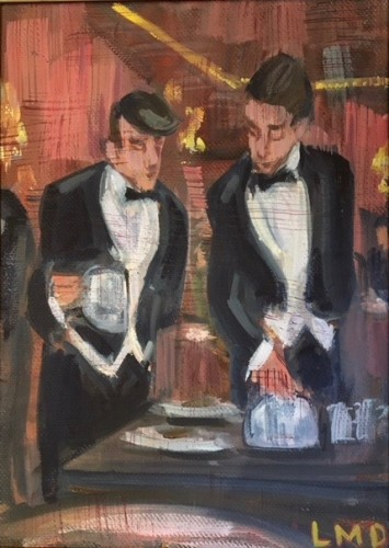 Lucy Dickens, Waiters in the Dining Room at The Ritz (Framed) (London Gallery)