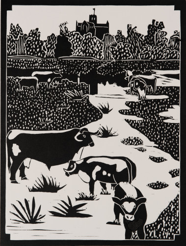 Dione Verulam, River Ver and Longhorns (Unframed)