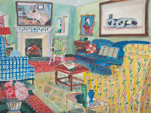 Lottie Cole, Interior with Vase of Roses and Henry Moore (London Gallery)