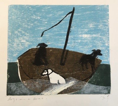 Keith Purser, Dogs in a Boat (White Wave)