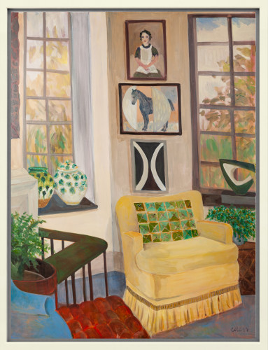 Lottie Cole, Interior with Denis Mitchell Small Sculpture (London Gallery)