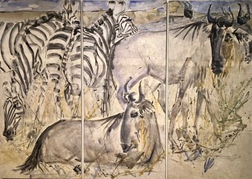 Christine Seifert, Gnus and Zebra (Triptych) (London Gallery)