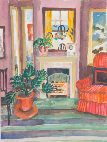 Lottie Cole, Interior with Red Armchair and Marine Interior (London Gallery)