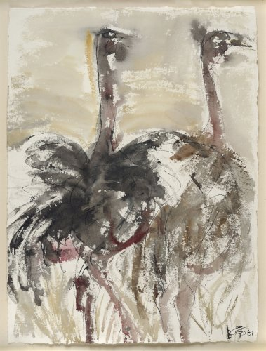 Christine Seifert, Two Ostriches (Framed) (London Gallery)