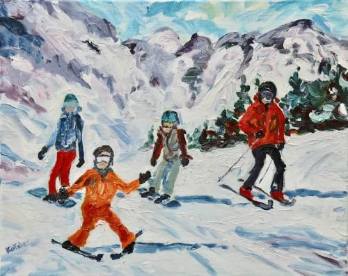 Fi Katzler, Family Ski (Hungerford Gallery)