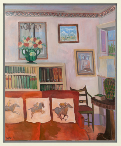 Lottie Cole, Interior with three racing horses (London Gallery)