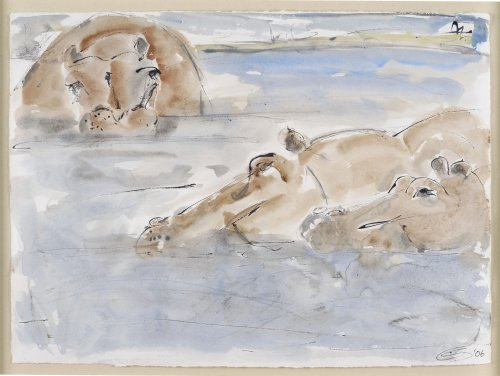 Christine Seifert, Hippos Bathing (Framed) (London Gallery)