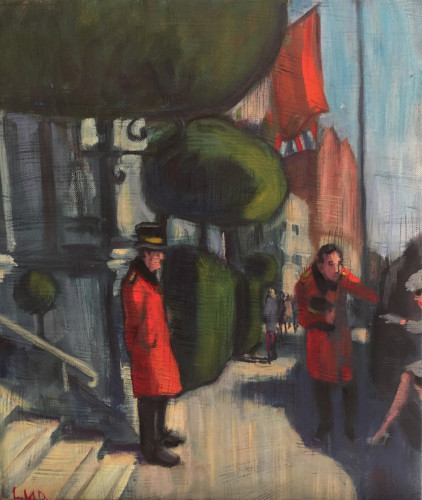 Lucy Dickens, Glamorous Lady Getting Out of Taxi to Mandarin Oriental Hotel (Hungerford Gallery)