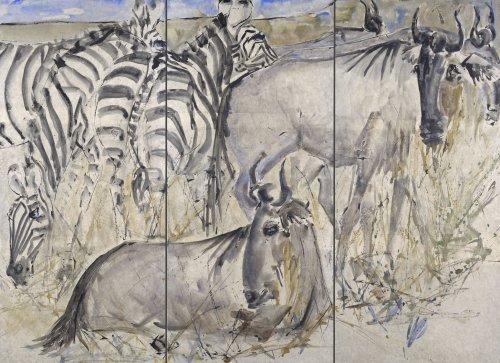 Christine Seifert, Gnus and Zebra (Triptych)
