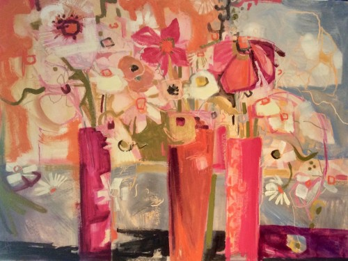 Emma Haggas, Three Pink Vases (Hungerford Gallery)