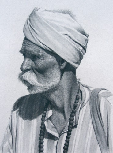 Mark Clark, Rajasthani Man with Beads (Hungerford Gallery)