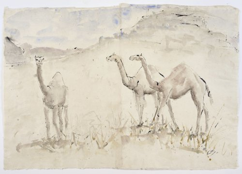 Christine Seifert, Three Camels (Mounted) (London Gallery)