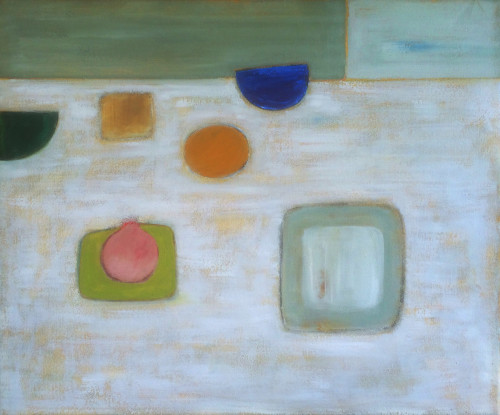 Colin Williams, Abstract with Pink on Green (Hungerford Gallery)