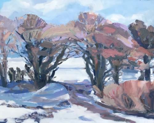 Minnie Shaw Stewart, East Garston Down Winter (Hungerford Gallery)