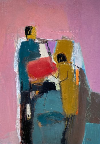 Dafila Scott, Figures on Pink (London Gallery)