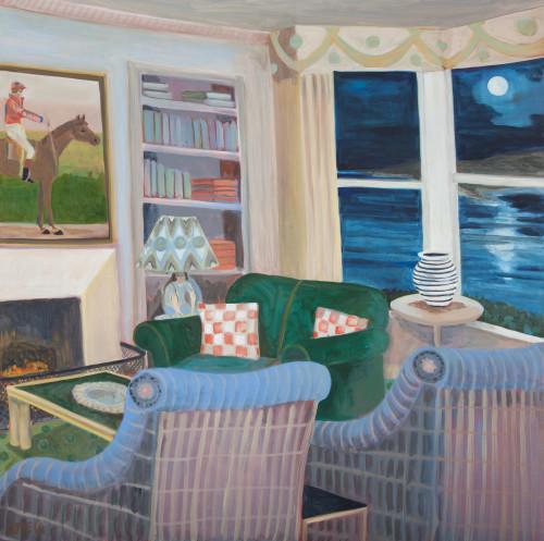 Lottie Cole, Interior with Jockey and Moonlit Sea (London Gallery)