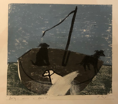 Keith Purser, Dogs in a Boat (Blue/Grey) (Hungerford Gallery)